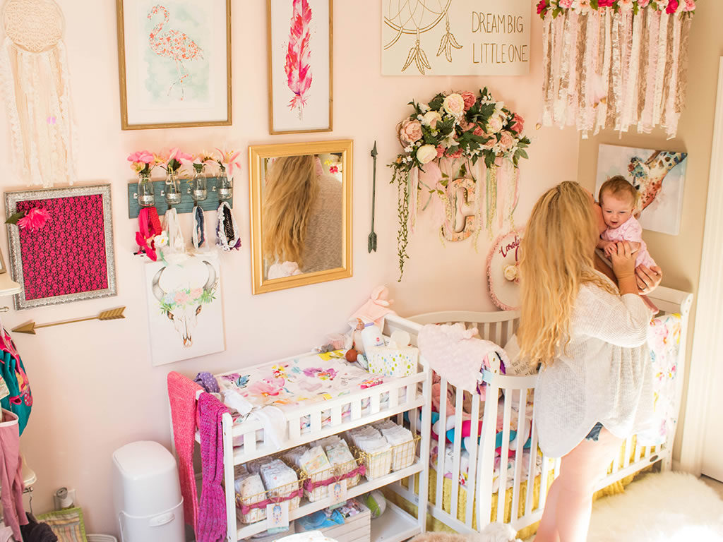 Floral accents work well with this colorful, bohemian themed nursery - Featured here is the Dream On Me Violet 7-in-1 Convertible Lifestyle Crib