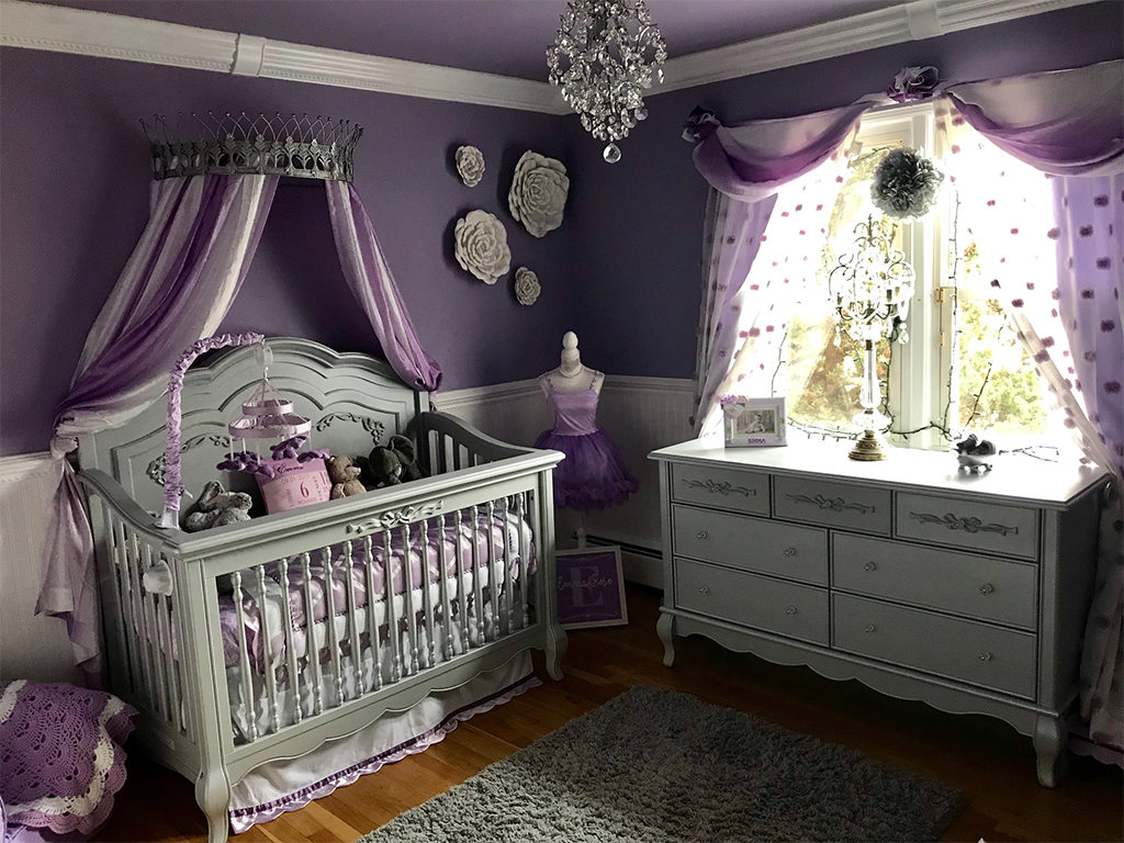 An all-out royal nursery in gray and purple featuring the made-for-a-princess nursery collection - The Evolur Aurora Nursery Collection