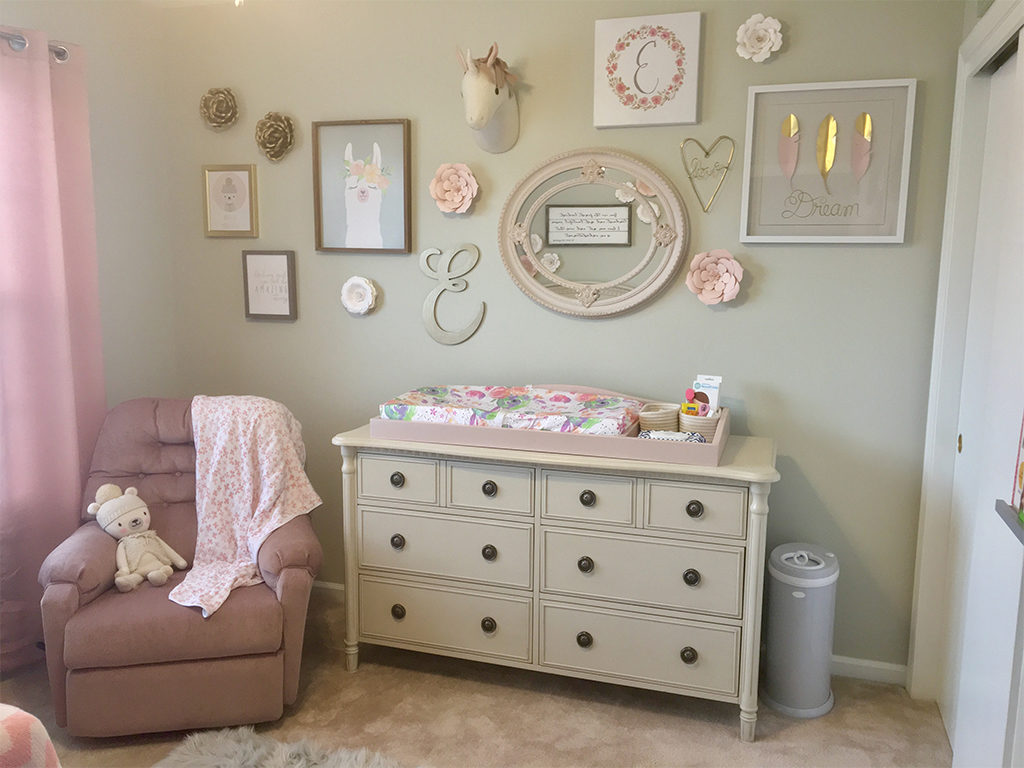 Adding pops of pink to a sophisticated beige nursery - Featured here is the Julienne Double Dresser in Cloud.
