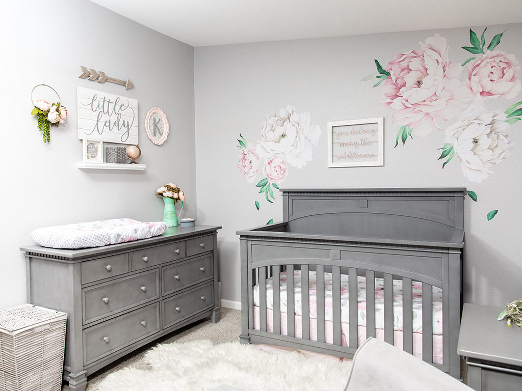 Gray And Pink Floral Baby Girl Nursery With The Evolur Santa Fe