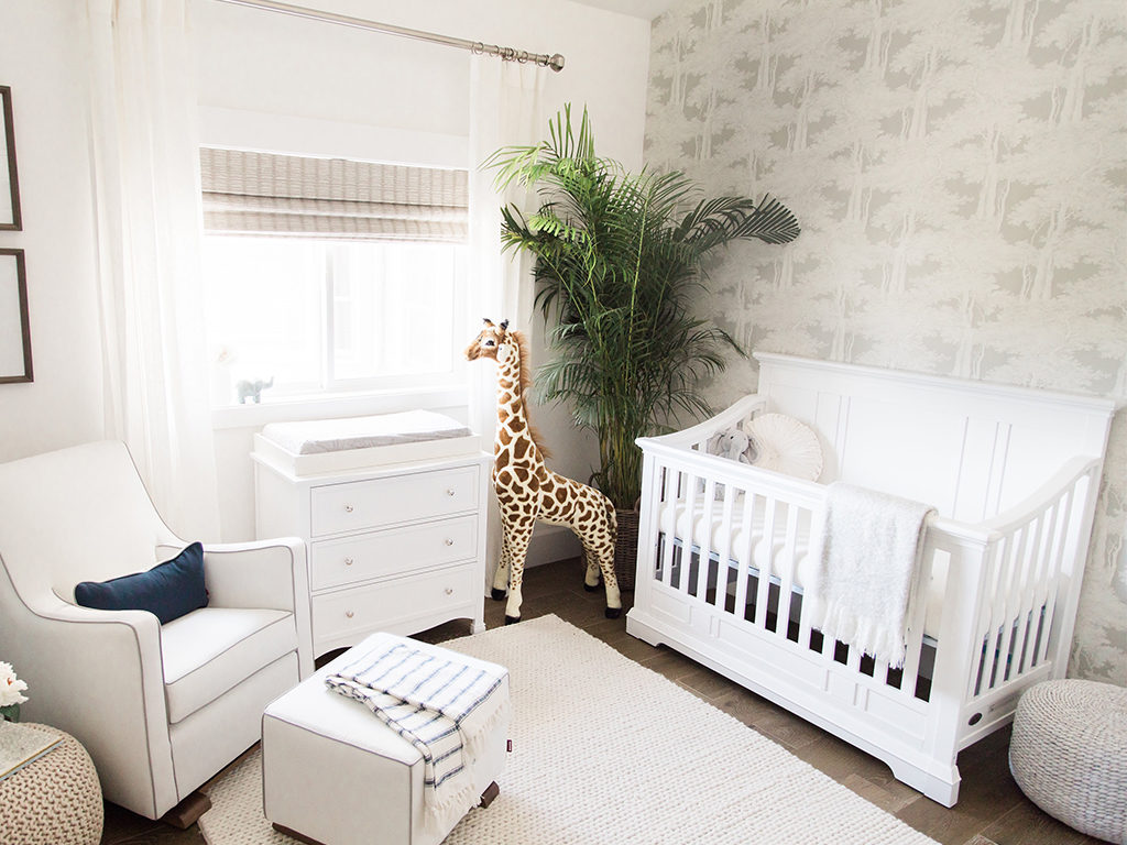 A modern take on an animal themed nursery - Ali Fedotowsky's nursery for her baby boy featuring the Parker 5-in-1 Convertible Crib