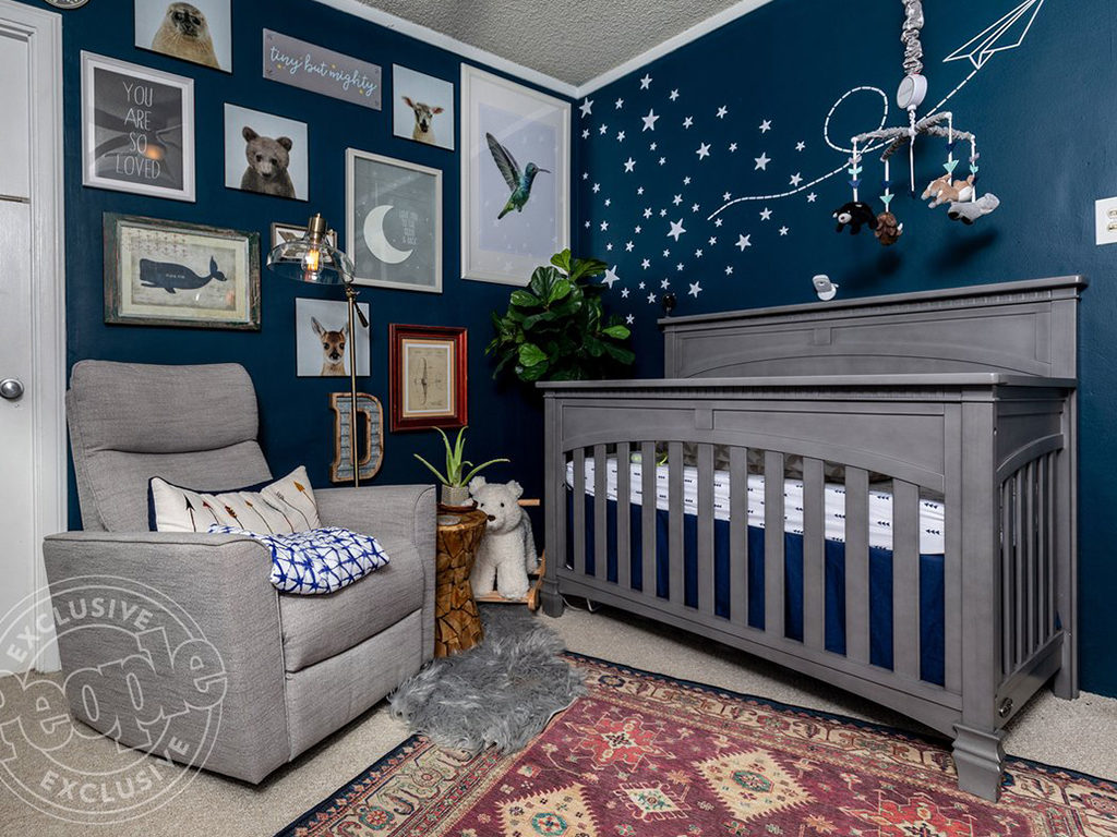 A winning color combination - How gorgeous is Brianne Davis' gray and blue animal themed nursery with the Evolur Santa Fe Nursery Collection