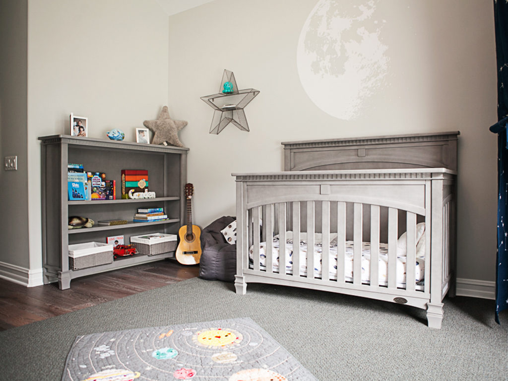 Celebrity mom Renee Hurlocker's chic outer space themed nursery featuring the Santa Fe 5-in-1 Convertible Crib