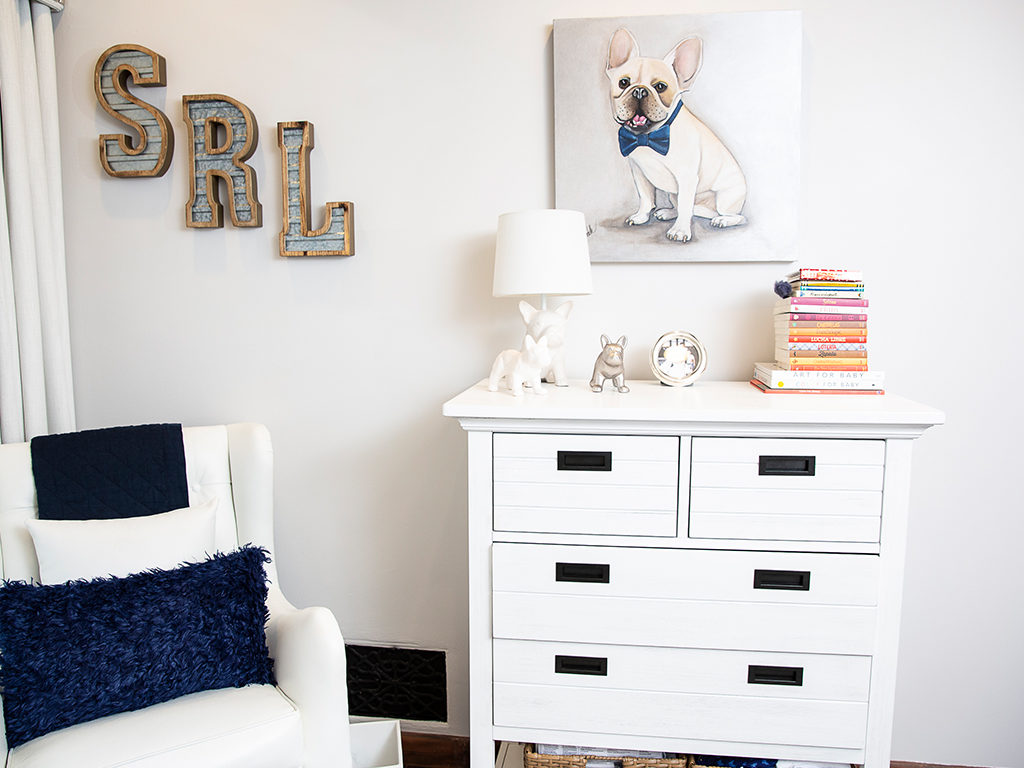 Meet Julio, Mario and Courtney Lopez's friendly bulldog. Featured here is the Evolur Waverly Tall Chest. Pics credit - The Range Photography Studios
