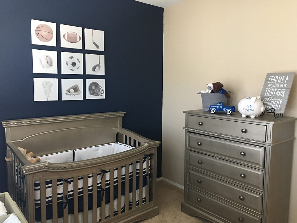 A class act - A sports themed nursery in a blue and gold color pallette