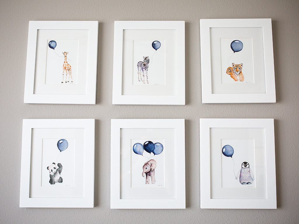 Beautiful animal artwork is a great way to decorate a nursery wall