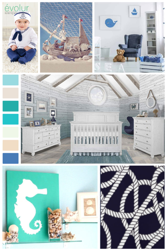 A coastal themed nursery board with the Cape May 5-in-1 Convertible Crib