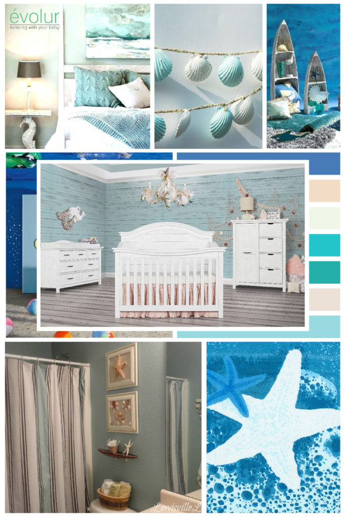 A calm and blissful beach themed nursery board with the Belmar (Curved Top) 5-in-1 Convertible Crib