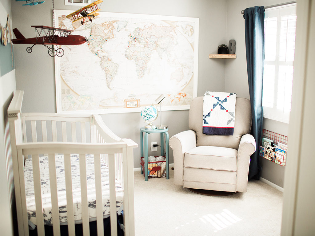 A timeless travel themed nursery - with the Evolur Windsor (Flat Top) 5-in-1 Convertible Crib