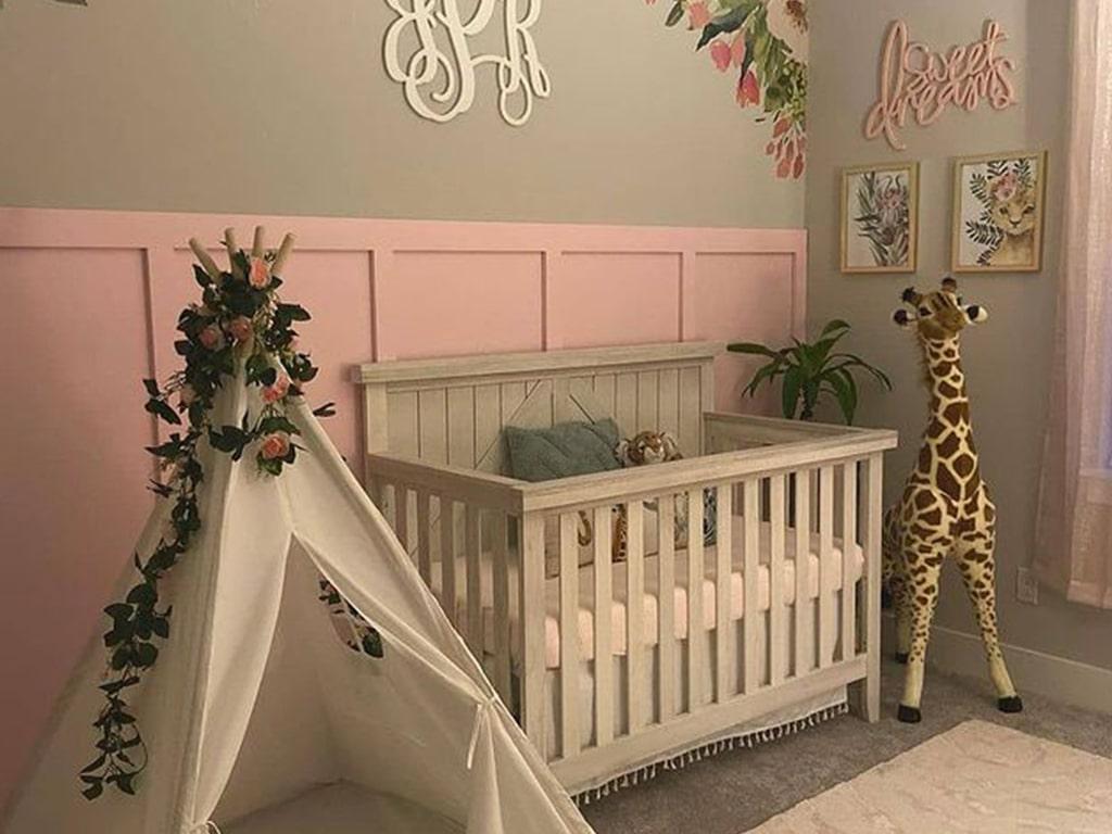 Sweetpea Baby Rose Wood 4-in-1 Convertible Crib